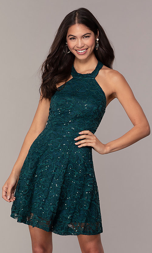 Image of sequin-lace short teal wedding-guest dress by Simply. Style: MCR-SD-2566 Front Image