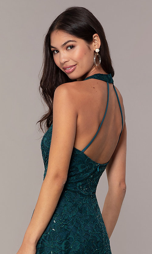 Image of sequin-lace short teal wedding-guest dress by Simply. Style: MCR-SD-2566 Detail Image 2