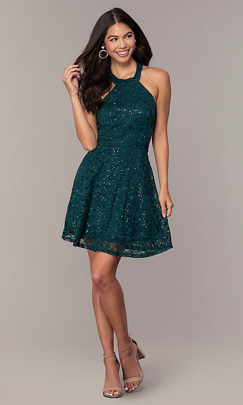 Image of sequin-lace short teal wedding-guest dress by Simply. Style: MCR-SD-2566 Detail Image 3