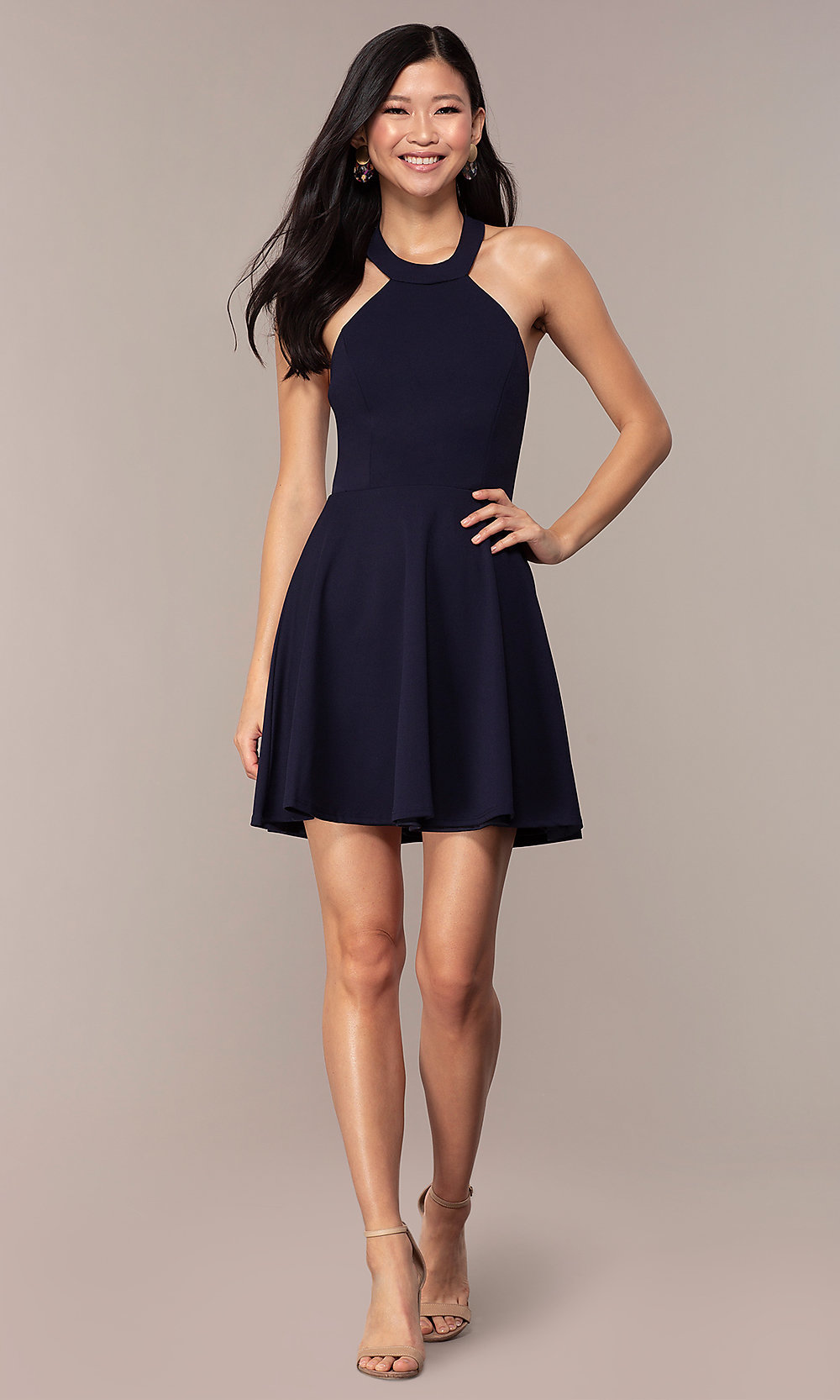 Navy High-Neck Wedding-Guest Short Dress by Simply
