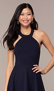 Image of navy short high-neck wedding-guest dress by Simply. Style: MCR-SD-2567 Detail Image 1