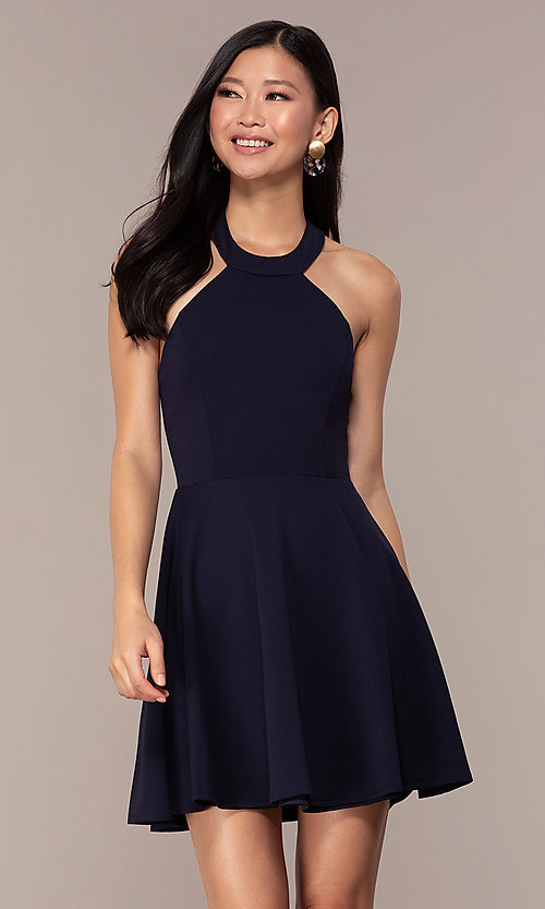 Image of navy short high-neck wedding-guest dress by Simply. Style: MCR-SD-2567 Front Image