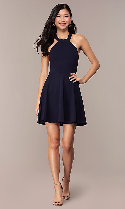 Image of navy short high-neck wedding-guest dress by Simply. Style: MCR-SD-2567 Detail Image 3