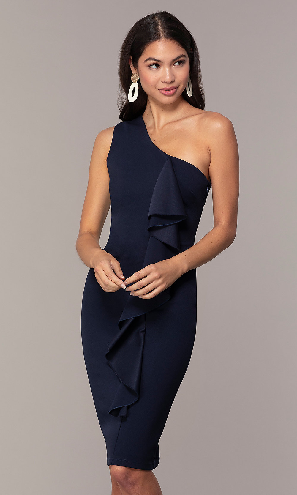 Navy Blue One-Shoulder Wedding-Guest Dress by Simply
