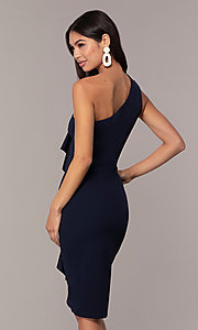 Image of navy blue one-shoulder wedding-guest dress by Simply Style: MCR-SD-2513 Back Image