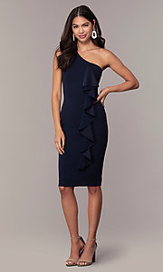 Image of navy blue one-shoulder wedding-guest dress by Simply Style: MCR-SD-2513 Detail Image 3