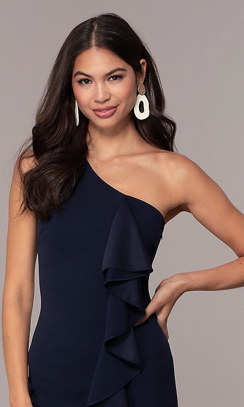 Image of navy blue one-shoulder wedding-guest dress by Simply Style: MCR-SD-2513 Detail Image 1