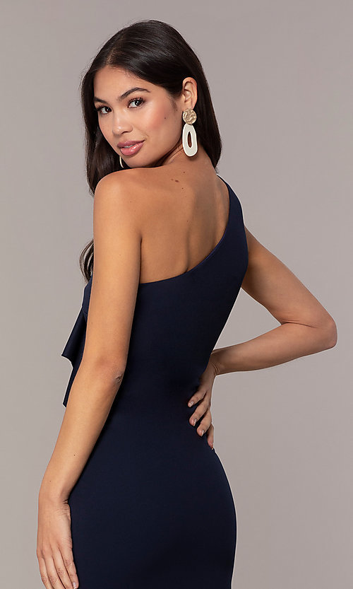 Image of navy blue one-shoulder wedding-guest dress by Simply Style: MCR-SD-2513 Detail Image 2