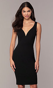 Image of knee-length v-neck black cocktail dress by Simply. Style: MCR-SD-2557 Front Image