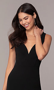 Image of knee-length v-neck black cocktail dress by Simply. Style: MCR-SD-2557 Detail Image 1