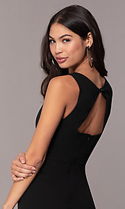 Image of knee-length v-neck black cocktail dress by Simply. Style: MCR-SD-2557 Detail Image 2