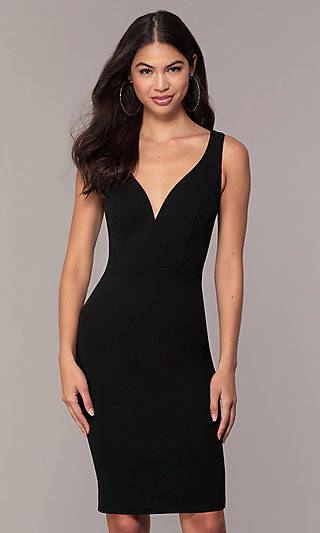 Knee-Length V-Neck Black Cocktail Dress by Simply