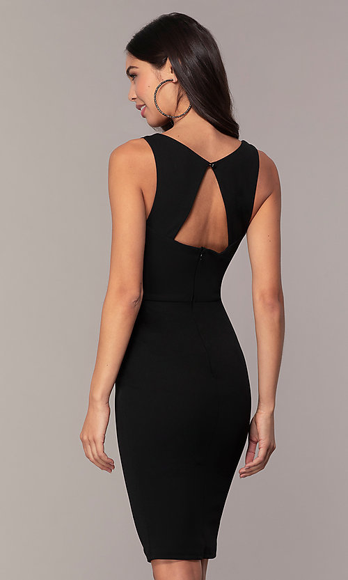 Image of knee-length v-neck black cocktail dress by Simply. Style: MCR-SD-2557 Back Image