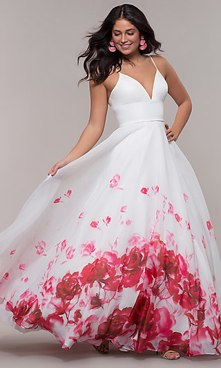 Ivory Long Organza Ball Gown with Floral Print