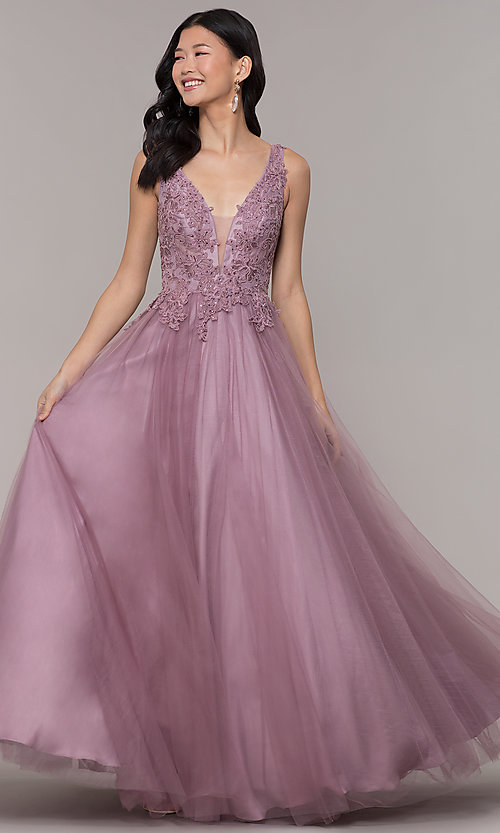 Image of embellished-bodice long formal ball gown. Style: BL-FL-PL-19052-1 Front Image