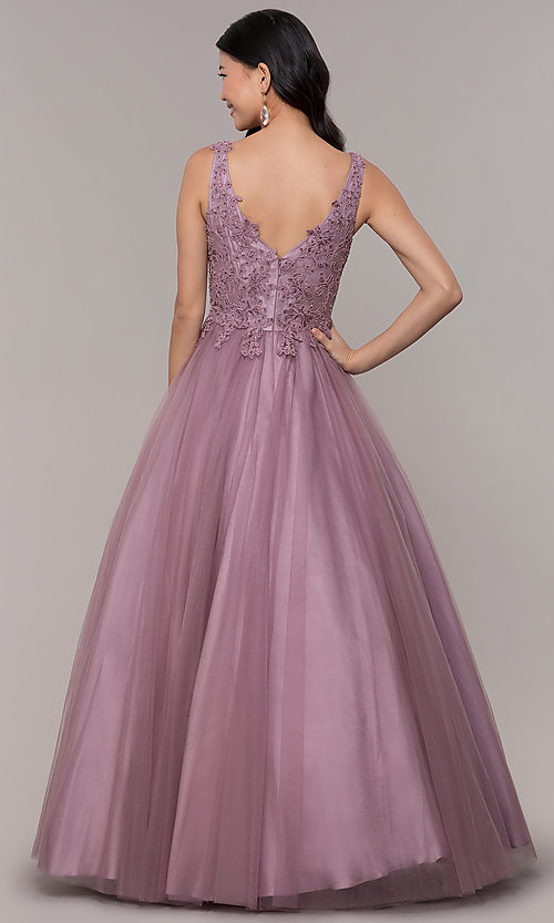 Image of embellished-bodice long formal ball gown. Style: BL-FL-PL-19052-1 Back Image