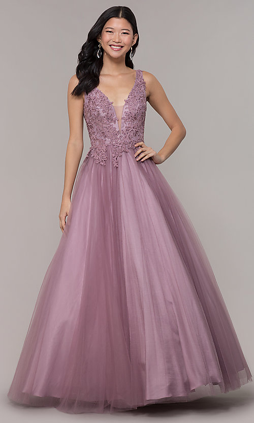 Image of embellished-bodice long formal ball gown. Style: BL-FL-PL-19052-1 Detail Image 3