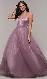 Image of dusty mauve long halter ball gown for prom. Style: BL-FL-PL-19054-1 Front Image