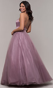 Image of dusty mauve long halter ball gown for prom. Style: BL-FL-PL-19054-1 Back Image