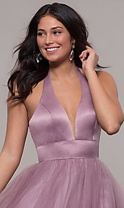 Image of dusty mauve long halter ball gown for prom. Style: BL-FL-PL-19054-1 Detail Image 1