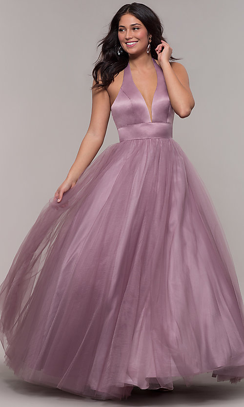 Image of dusty mauve long halter ball gown for prom. Style: BL-FL-PL-19054-1 Detail Image 3