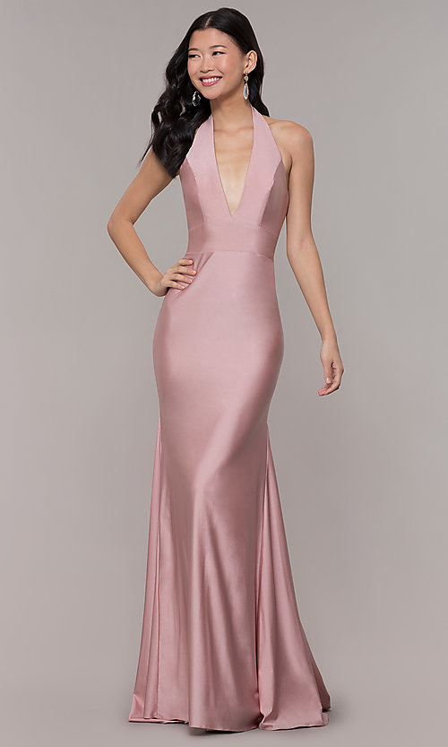 Image of backless v-neck long formal prom dress. Style: BL-PL-19143 Front Image