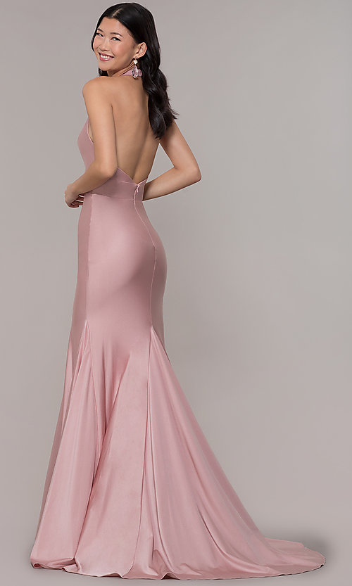 Image of backless v-neck long formal prom dress. Style: BL-PL-19143 Back Image