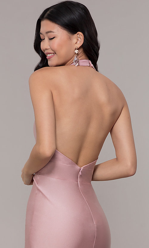 Image of backless v-neck long formal prom dress. Style: BL-PL-19143 Detail Image 2