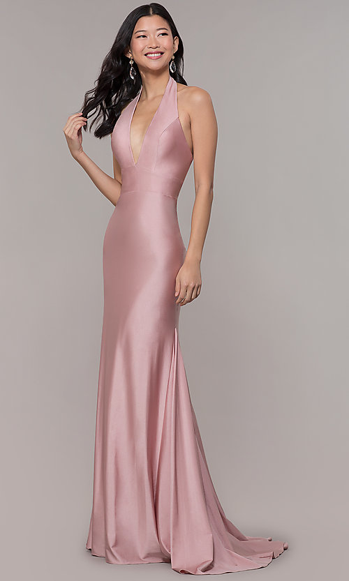 Image of backless v-neck long formal prom dress. Style: BL-PL-19143 Detail Image 3