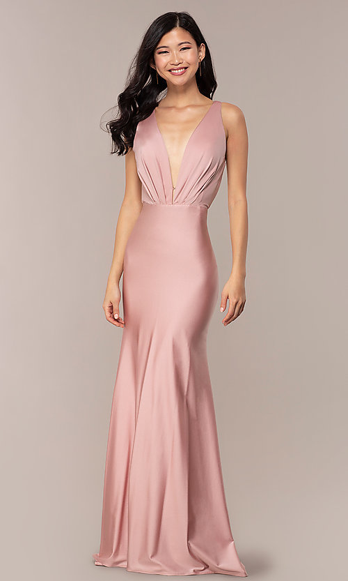 d932468fb4 Image of vintage-inspired low-cut v-neck long prom dress. Style