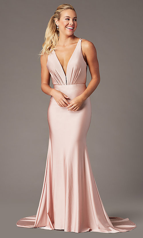 Image of vintage-inspired low-cut v-neck long prom dress. Style: BL-PL-19301 Front Image