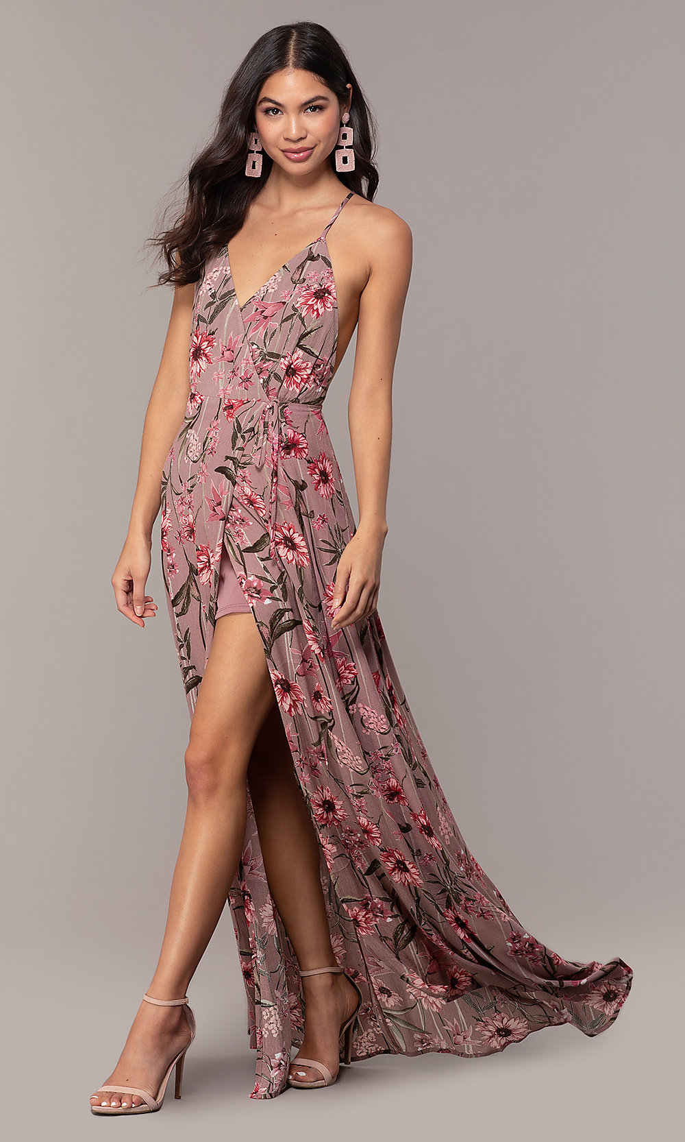 Print Sleeveless Long Wedding-Guest
