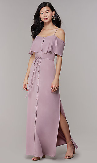 Off-Shoulder-Flounce Maxi Long Wedding-Guest Dress