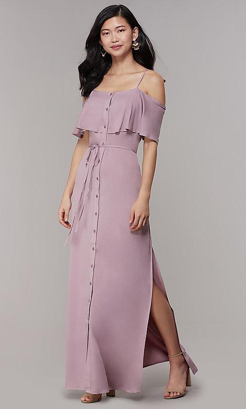 fc3cd5fae3b3 Image of off-shoulder-flounce maxi long wedding-guest dress. Style: