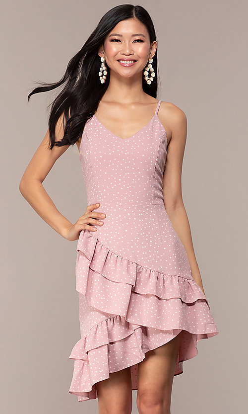 Image of polka-dot wedding-guess short dress with ruffles. Style: FAN-EKD2136 Front Image