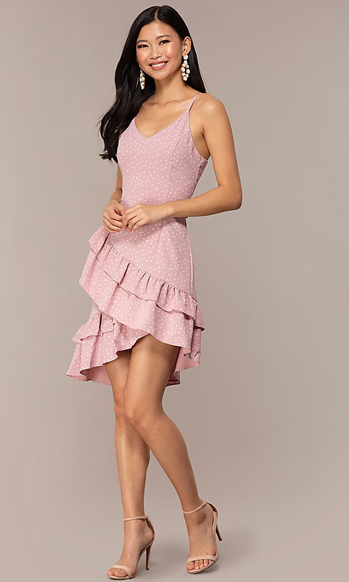 Image of polka-dot wedding-guess short dress with ruffles. Style: FAN-EKD2136 Detail Image 3