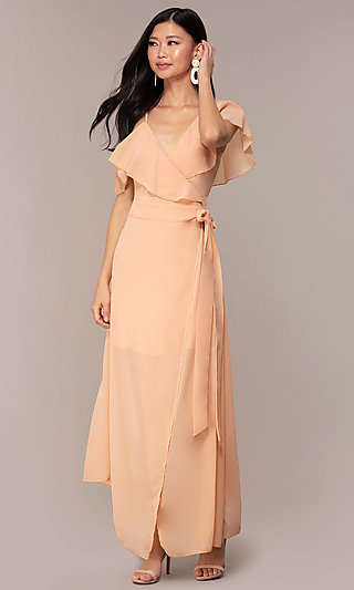 Asymmetrical Wrap Chiffon Wedding-Guest Dress