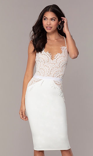 0543e9d3e2a Knee-Length Lace-Bodice Graduation Dress by Simply