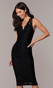 Image of v-neck black lace midi party dress by Simply. Style: JTM-SD-JMD10561 Detail Image 1