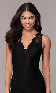 Image of v-neck black lace midi party dress by Simply. Style: JTM-SD-JMD10561 Detail Image 2
