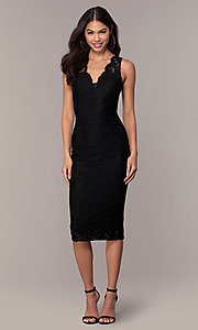 Image of v-neck black lace midi party dress by Simply. Style: JTM-SD-JMD10561 Front Image