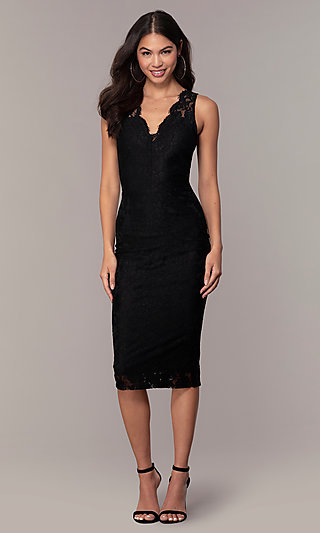 V-Neck Black Lace Midi Party Dress by Simply