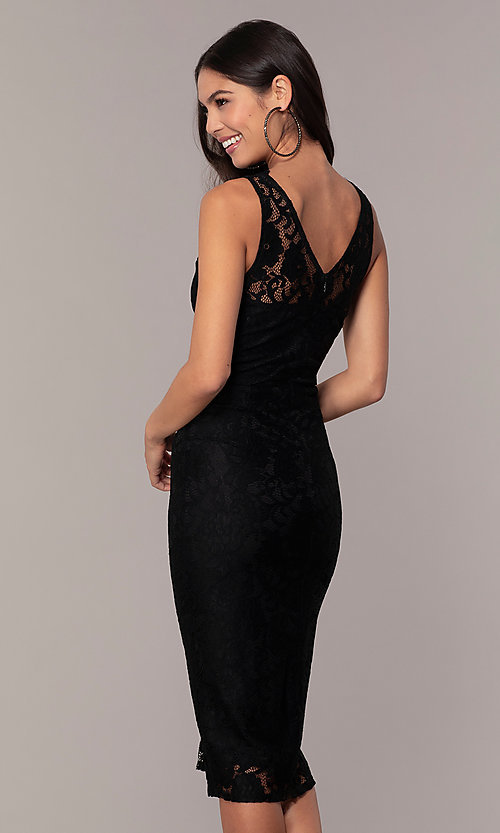Image of v-neck black lace midi party dress by Simply. Style: JTM-SD-JMD10561 Back Image