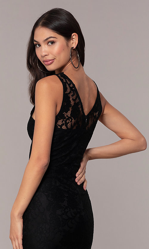 Image of v-neck black lace midi party dress by Simply. Style: JTM-SD-JMD10561 Detail Image 3