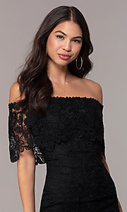 Image of Simply off-shoulder black lace wedding-guest dress. Style: JTM-SD-JMD7605 Detail Image 1