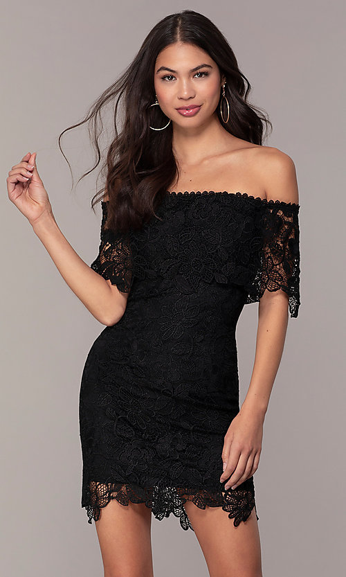 Image of Simply off-shoulder black lace wedding-guest dress. Style: JTM-SD-JMD7605 Front Image