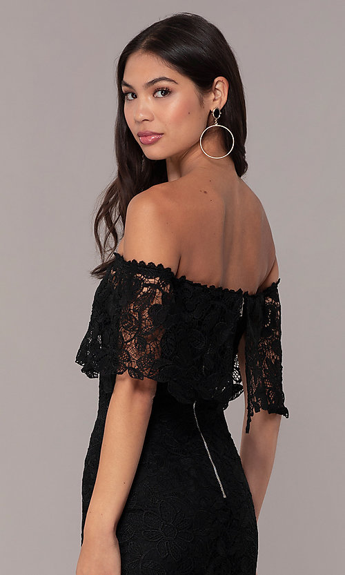 Image of Simply off-shoulder black lace wedding-guest dress. Style: JTM-SD-JMD7605 Detail Image 2