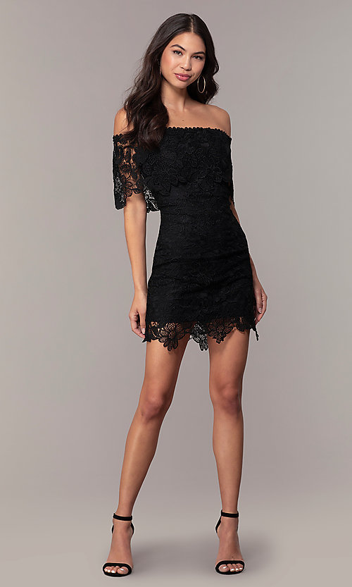 Image of Simply off-shoulder black lace wedding-guest dress. Style: JTM-SD-JMD7605 Detail Image 3