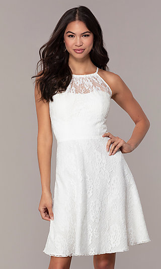 3fc67b0974 White Lace Short Graduation Dress by Simply