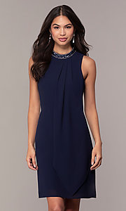 Image of short navy blue wedding-guest party dress by Simply. Style: MT-SD-9835 Front Image